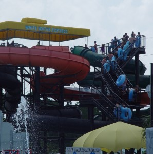 Water Slide Crowd